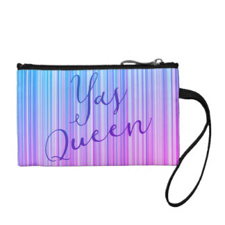 Yas Queen! Bright Colorful Striped Pattern Coin Purse