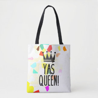 Yas Queen! Colorful Mosaic Pattern Tote