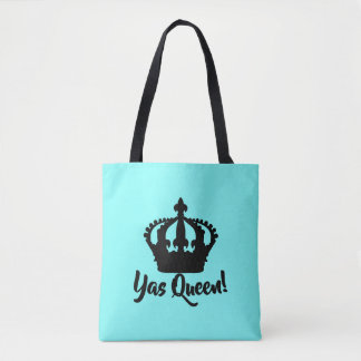 Yas Queen! Crown Tote Bag in bright teal