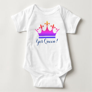 Yas Queen!  Rainbow color Baby style Crown Baby Bodysuit