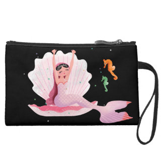 Yawning cute mermaid with a goldfish illustration suede wristlet
