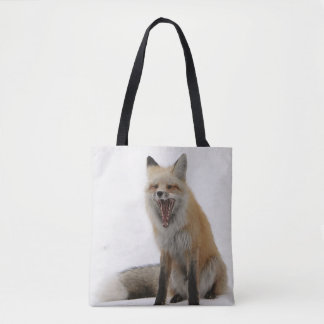 yawning fox bag, fox tote, fox shopper, wildlife tote bag