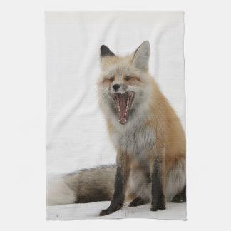 yawning fox kitchen towel, foxy tea towel, fox cub tea towel