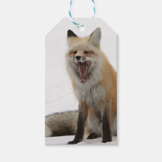 yawning fox wrapping paper, woodland gift wrap gift tags