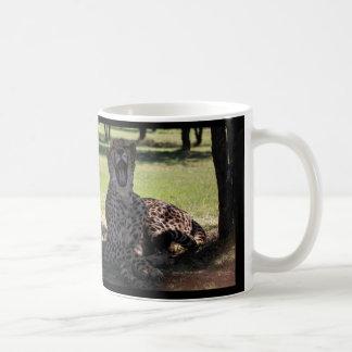 Yawning Morning Cheetah mug-black background Coffee Mug