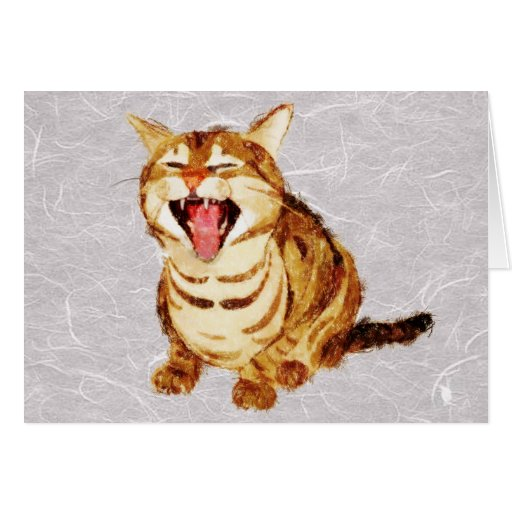 Yawning Tabby in Pastel Pencil Sketch Greeting Card