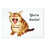 Yawning Tabby in Pastel Pencil Sketch 13 Cm X 18 Cm Invitation Card
