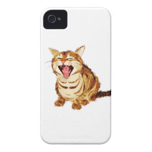 Yawning Tabby in Pastel Pencil Sketch iPhone 4 Case-Mate Case