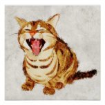Yawning Tabby in Pastel Pencil Sketch Poster