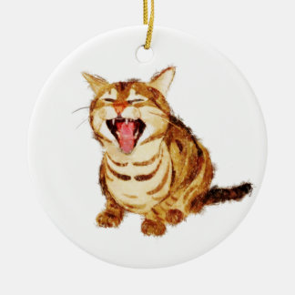 Yawning Tabby in Pastel Pencil Sketch Round Ceramic Decoration