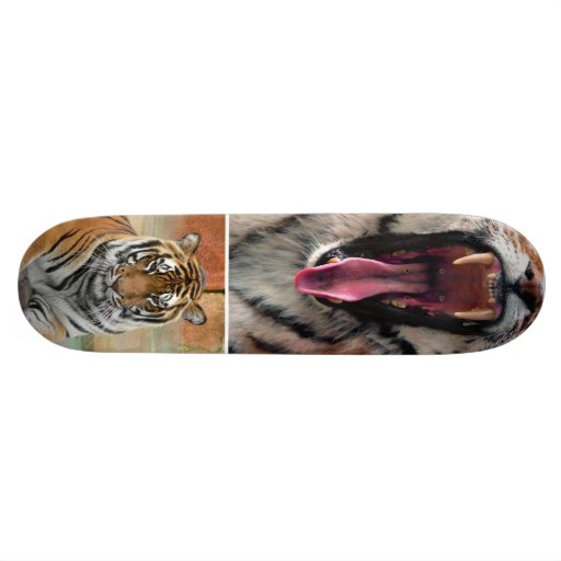 Yawning Tiger fangs tongue Skateboard