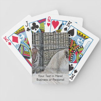 Yawning white tiger next to other cat sketch style playing cards