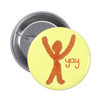 Yay Badge with Red Stick Man Pinback Buttons