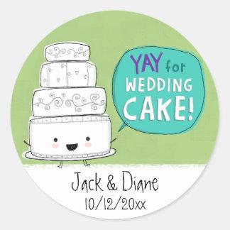 YAY for Wedding Cake!  Customisable Round Sticker