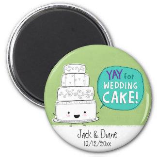 YAY for Wedding Cake!  Customizable 6 Cm Round Magnet
