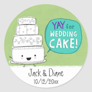 YAY for Wedding Cake Customizable Round Stickers