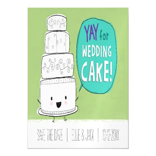 Yay for Wedding Cake! Save the Date Magnetic Card
