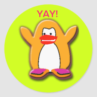 Yay! Happy Penguin Classic Round Sticker