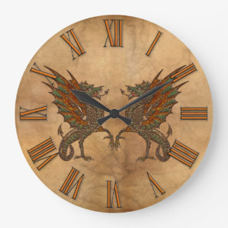 Ye Old Medieval Dragon Design Large Clock