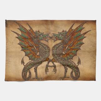 Ye Old Medieval Dragon Design Tea Towel