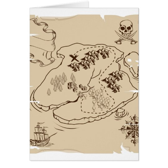 Ye Olde Pirate Treasure Map Card