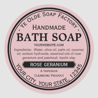 Ye Olde Soap Factory Handmade Round Soap Labels Round Sticker