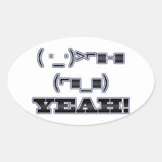 YEAH! Emoticon Oval Sticker