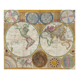 Year 1789 Antique coloured world map poster