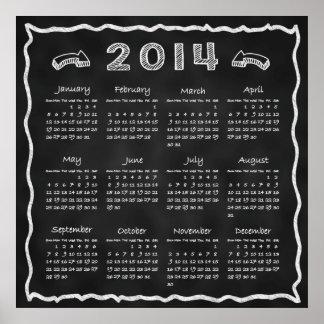 Year 2014 Blackboard Calendar Poster