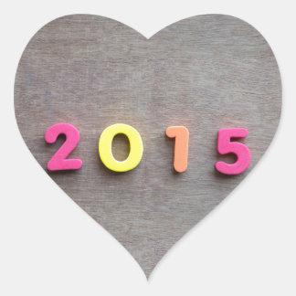Year 2015 heart sticker