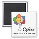 Year Dated, Age, Name Personalised Birthday Square Magnet