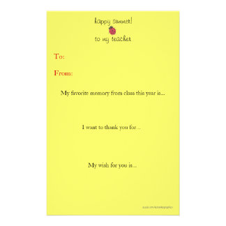 Year-end teacher thank you note stationery