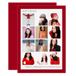 Year In Review Twelve Photo Personalized Christmas 13 Cm X 18 Cm Invitation Card