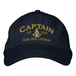 Year Name to Customize Captain LifeSaver Anchor Embroidered Baseball Caps