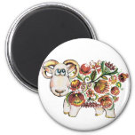 Year of a sheep - Ukrainian Petrykivsky Painting Refrigerator Magnet