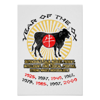 Year of Ox Qualities Poster Print