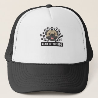 Year Of The Dog Chinese New Year 2018 Cute Pug Paw Trucker Hat