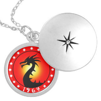 Year of the Dragon 1964 Round Locket Necklace