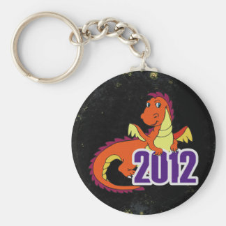 Year of the dragon 2012  chinese new year basic round button key ring