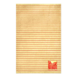 Year of the Dragon Chinese New Year Red Lined Personalized Stationery