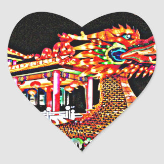 Year of the Dragon in San Francisco Heart Sticker