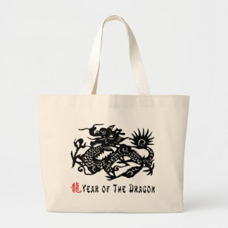 Year of The Dragon Paper Cut Gift Large Tote Bag