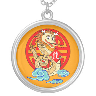 Year of the Dragon Round Pendant Necklace