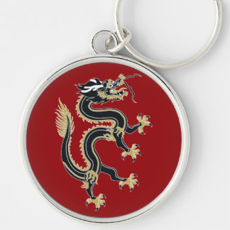 Year of the Dragon Silver-Colored Round Key Ring