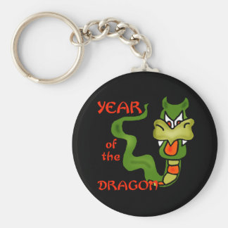 Year of the Dragon with Cartoon Dragon Basic Round Button Key Ring