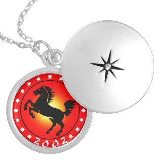year of the horse 2002 silver plated necklace - Chinese New Year 2002