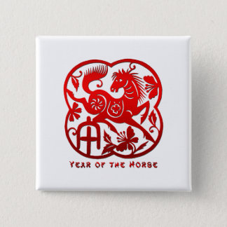 Year of The Horse Papercut 15 Cm Square Badge