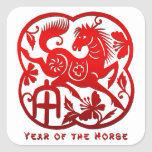 Year of The Horse Papercut Square Stickers