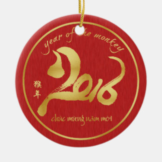 Year of the Monkey 2016 - Veitnamese New Year Tet Round Ceramic Decoration