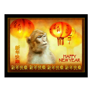 Year of the Monkey, Chinese Lanterns & Monkey Postcard